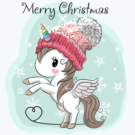 Greeting Christmas card Cute Cartoon Unicorn in a hat