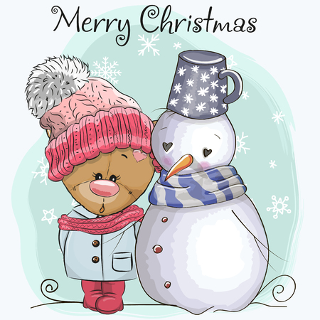 Cute Cartoon Teddy Bear in a knitted cap and snowman Illustration