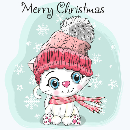 Cute Cartoon white Kitten in a hat and scarf