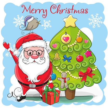 Greeting Card Cute Cartoon Santa Claus and a fir
