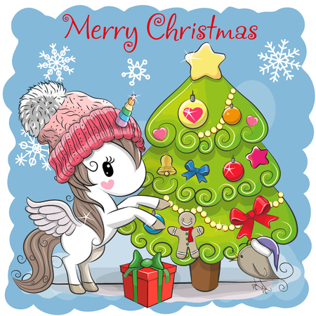 Greeting card Cute Cartoon Unicorn in a scarf Illustration