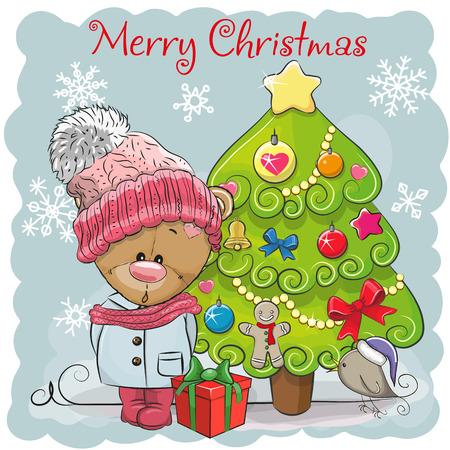 Greeting card Cute Cartoon Teddy Bear in a hat and scarf Illustration