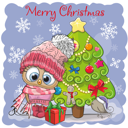 Greeting card Cute Cartoon Owl in a hat and scarf Vectores