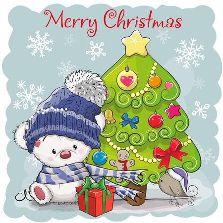 Greeting card Cute Cartoon Teddy Bear in a hat and scarf  イラスト・ベクター素材