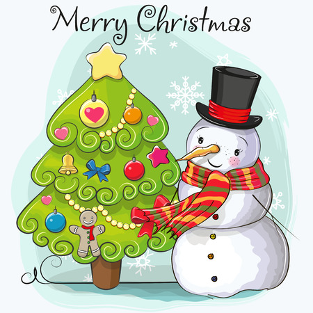 Greeting card Cute Cartoon Snowman in a hat and scarf and fir