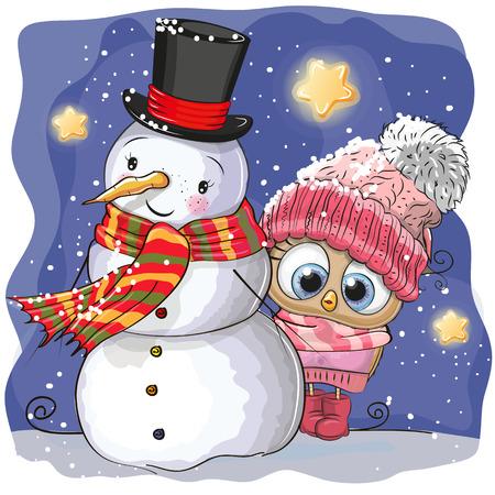 눈사람과 귀여운 만화 올빼미 소녀는 모자에 일러스트