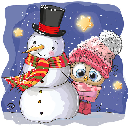 Snowman and Cute Cartoon Owl girl in a hat