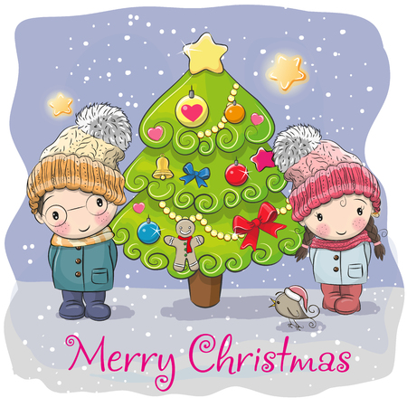 Greeting card Cute Cartoon boy and girl in a hats and a fir Illustration