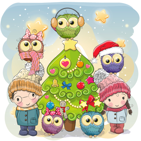 Greeting card Cute Cartoon boy and girl and five owls