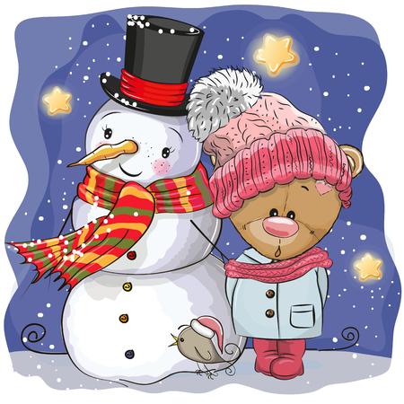 Snowman and Cute Cartoon Teddy Bear girl in a hat