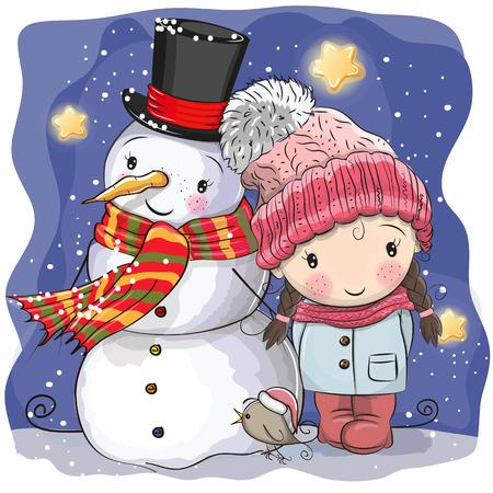 Snowman and Cute Cartoon girl in a hat