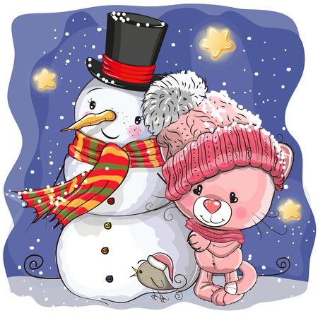눈사람 및 귀여운 만화 새끼 고양이 모자