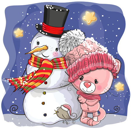 Snowman and Cute Cartoon kitten girl in a hat Illustration