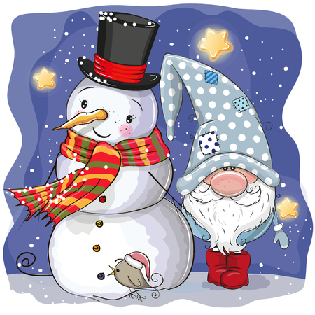 Cute Cartoon Gnome and Snowman with hat and scarf Stock Illustratie