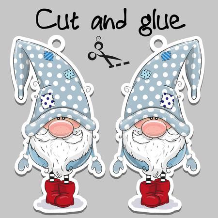 Cute cartoon gnome op een grijze achtergrond voor handgemaakte decoratie Stock Illustratie