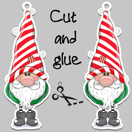Cute Cartoon Gnome on a gray background for handmade decoration