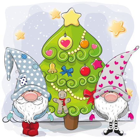 Twee schattige cartoon kabouters en kerstboom