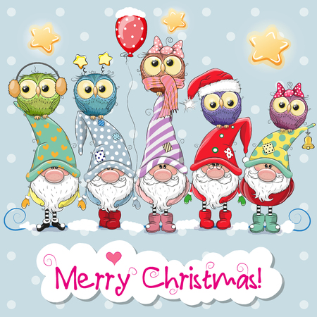Greeting Christmas card with Five Gnomes and five owls Stock Vector - 91005894