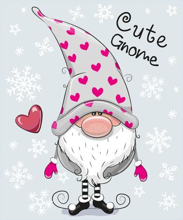 青色の背景にクリスマス カードかわいい漫画 Gnome の挨拶