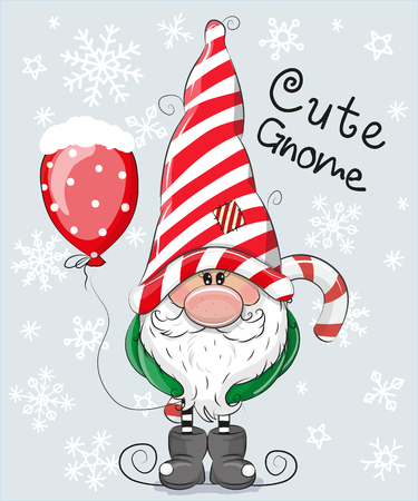 Greeting Christmas card Cute dibujos animados Gnome sobre un fondo azul Foto de archivo - 91002088