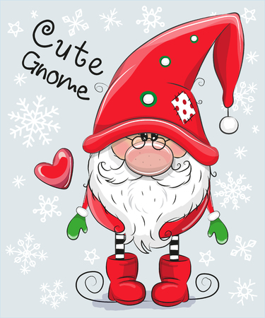Greeting Christmas card Cute Cartoon Gnome on a blue background Zdjęcie Seryjne - 91075956