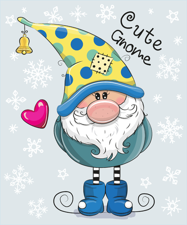 Greeting Christmas card Cute Cartoon Gnome on a blue background
