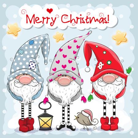 Kartka świąteczna z pozdrowieniami z trzema uroczymi krasnoludkami na niebieskim tle