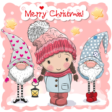 Greeting Christmas card with Two cute Gnomes and girl on a pink background