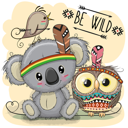 Cute cartoon tribal koala and owl with feather.