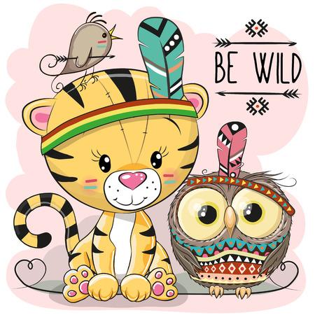 Cute cartoon tribal tijger en uil met veer. Stock Illustratie