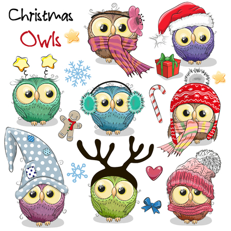 Set of cute cartoon Christmas owls on a white background Ilustracja