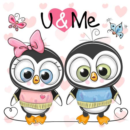 Two cute cartoon penguins on a hearts background Stock Vector - 91280008