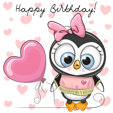 Cute Cartoon Penguin Girl with a balloon on a hearts background