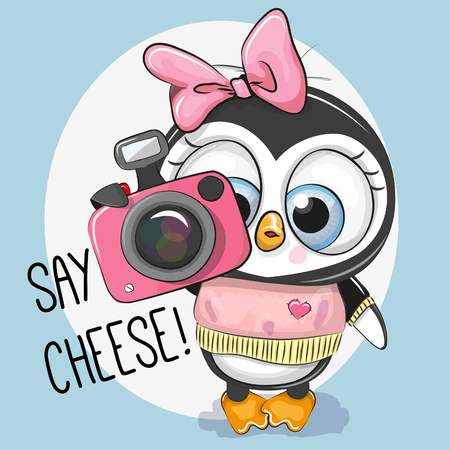Cute cartoon Penguin with a camera on a blue background Illustration