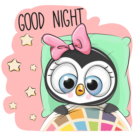 Cute Cartoon Sleeping Penguin Girl in a bed
