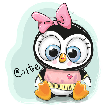 Cute Cartoon Penguin Girl on a blue background Stok Fotoğraf - 91533598