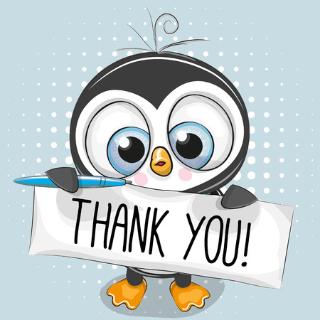 Cute cartoon Penguin Boy with plaque with inscription thank you
