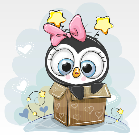 Birthday card with a Cute Cartoon Penguin girl and a box Illustration