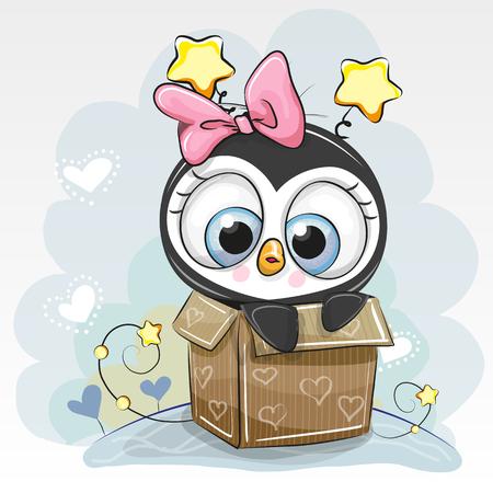 Birthday card with a Cute Cartoon Penguin girl and a box Vectores