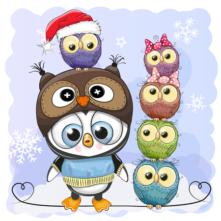 Greeting Christmas card Cute Cartoon Penguin in owl hat and five Owls