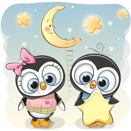 Cute cartoon Penguin boy gives a Penguin girl a star