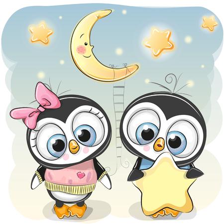 Cute cartoon Penguin boy gives a Penguin girl a star Stok Fotoğraf - 91533595