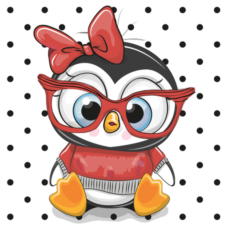 Cute Cartoon Penguin with red glasses on a dots background