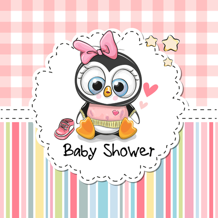 Baby Shower Greeting Card with cute Cartoon Penguin girl. Illustration
