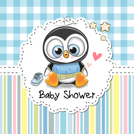 Baby Shower Greeting Card with cute Cartoon Penguin boy.