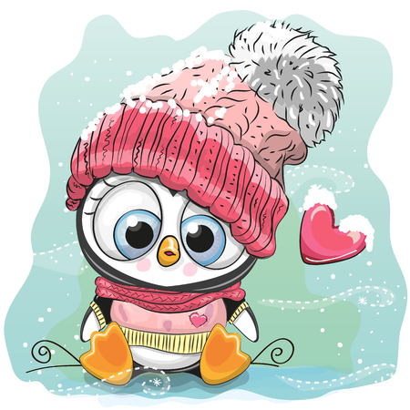 Cute Cartoon Penguin in a knitted cap sits on a snow.