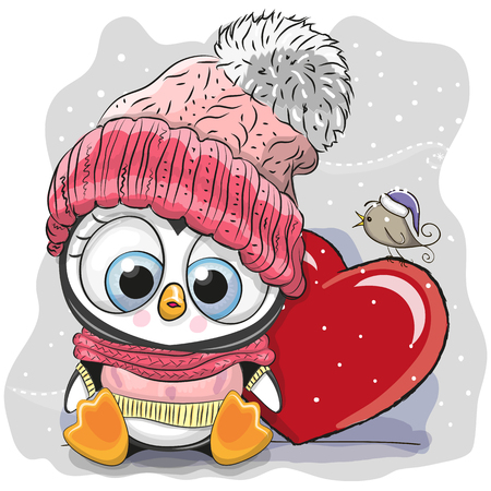Cute Cartoon Penguin in a knitted cap and a heart.