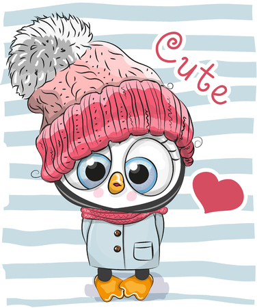Cute Cartoon Penguin girl in a hat and coat. 向量圖像