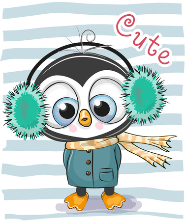 Cute Cartoon Penguin boy in a fur headphones and coat. Çizim