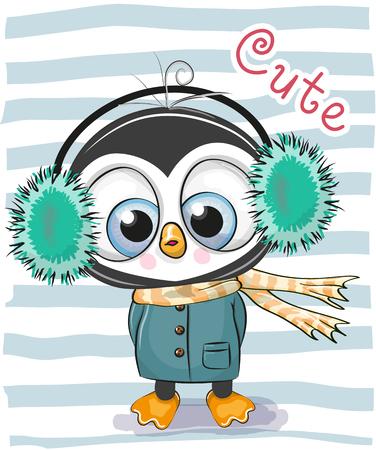 Netter Karikatur-Pinguinjunge in den Kopfhörern und im Mantel eines Pelzes. Standard-Bild - 91602226